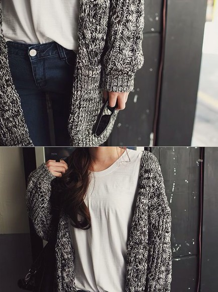 grey cardigan jeans knitwear knitted cardigan fall outfits oversized cardigan