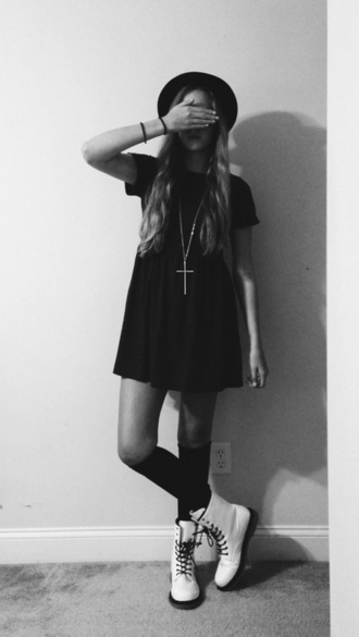 dress black cross knee high socks hat shoes jewels burgundy short grunge boots grunge dress combat boots bowler hat cute little black dress clothes vintage cute dress cross necklace loose flowing short sleeve t-shirt dress hipster hipster punk black dress socks doc martins white necklace