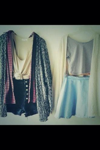 skirt shorts sweater blouse shirt flannel knot