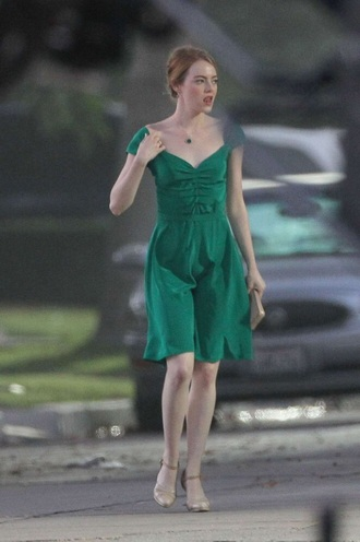 dress lala land la la land green fit and flare satin cap sleeve emma stone green dress silk emerald dress