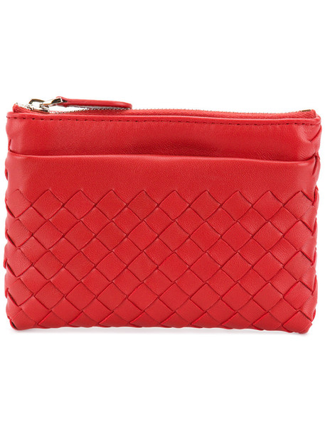 Bottega Veneta - intrecciato zipped coin purse - women - Lamb Skin - One Size, Red, Lamb Skin