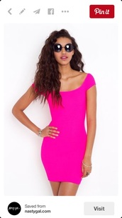 dress,pink,hot pink,sexy,neon,beach,bright,pink dress,hot,sexy dress,sexy party dresses,neon dress,miami,style,fashion,summer dress,party dress,party outfits,short party dresses,cocktail dress,mini dress,bodycon dress,bodycon,body,tight