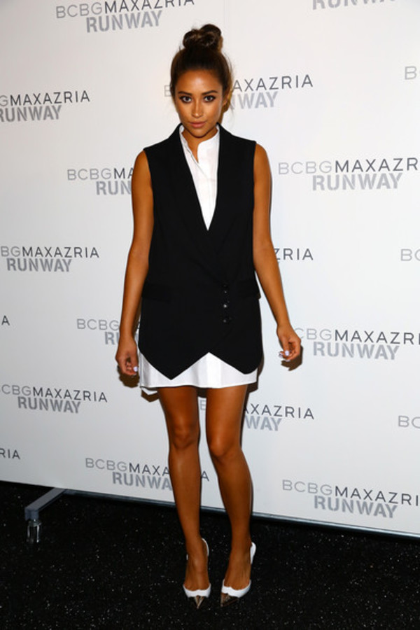 dress vest shay mitchell fashion week 2014 shoes pretty little liars