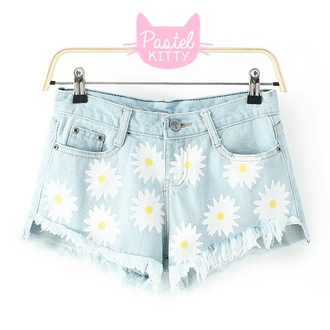 denim denim shorts floral flowered shorts sunflower sunflower shorts asian fashion japanese fashion tokyo fashion cfashion chinese fashion korean fashion kawaii kawaii fashion