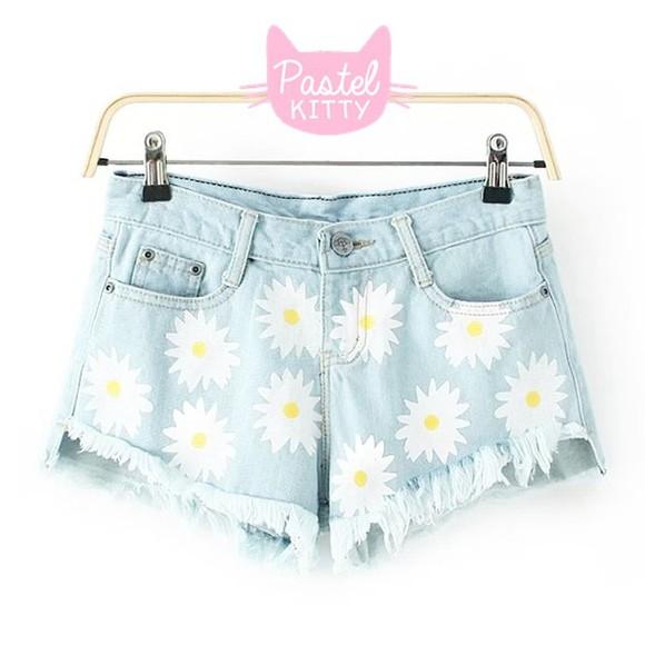 sunflower sunflower shorts denim denim shorts floral floral shorts asian fashion japanese fashion tokyo fashion cfashion chinese fashion korean fashion kawaii kawaii fashion