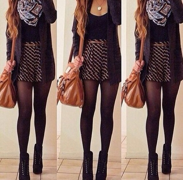 shorts shoes scarf tank top sweater belt