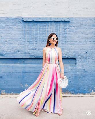 dress tumblr maxi dress long dress stripes striped dress bag white bag sunglasses earrings jewels jewelry accessories accessory