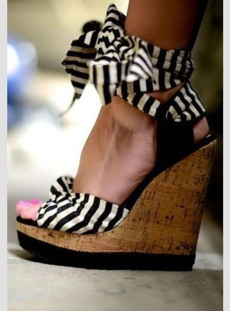 Shoes Black And White Wedges High Heels Black White Dress