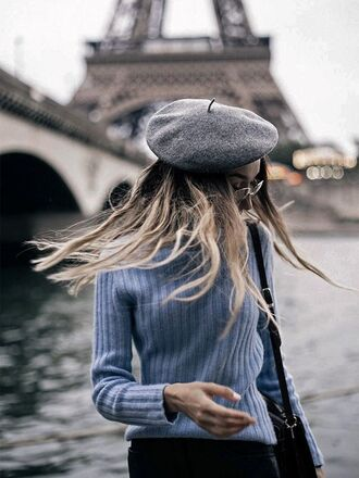 hat tumblr sweater grey sweater beret grey hat french girl style