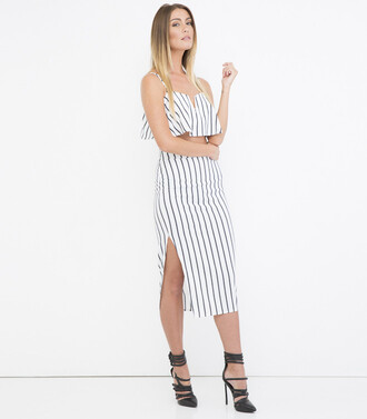skirt crop tops flounce top midi skirt stripes striped outfit