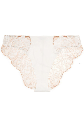 embroidered lace satin white underwear