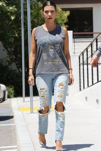 jeans top denim ripped jeans kourtney kardashian shoes