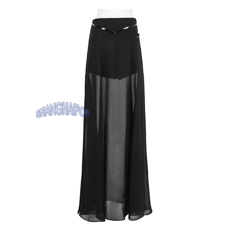 Women Sheer Skirt Maxi Long See-through Sexy Chiffon Fashion Shorts Black New | eBay