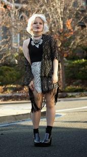 broke hell,blogger,skirt,kimono,snake print,silver necklace