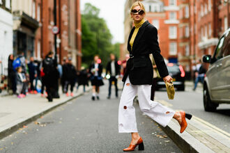 pants fashion week street style fashion week 2016 fashion week london fashion week 2016 cropped pants white pants wide-leg pants white culottes culottes palazzo pants blazer black blazer high heels thick heel block heels brown shoes shoes mustard turtleneck yellow top sunglasses fall outfits streetstyle