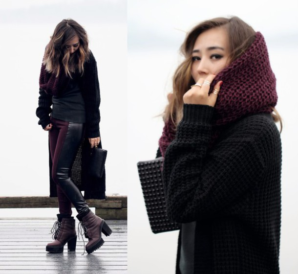 different cands blogger knitted scarf burgundy knitted cardigan pouch lace-up shoes leggings