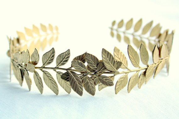 ATHENA Grecian Leaf Headpiece in Raw Brass by PompAndPlumage