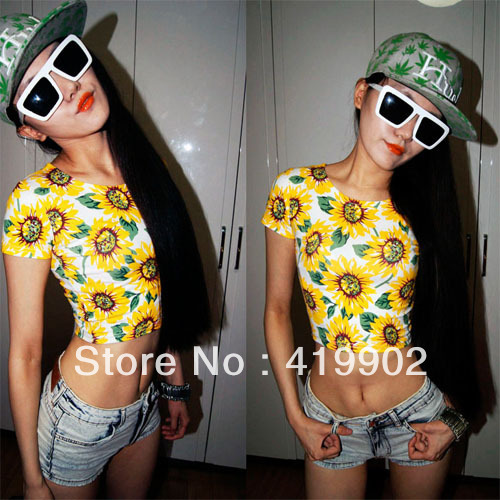 Sexy Belly Women Sunflower Print Bare midriff Crop Top Shirt girl Tee-in T-Shirts from Apparel & Accessories on Aliexpress.com