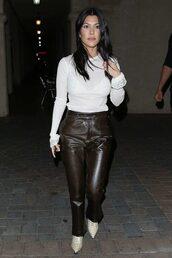 blouse,top,pants,kourtney kardashian,kardashians,boots,streetstyle,fall outfits