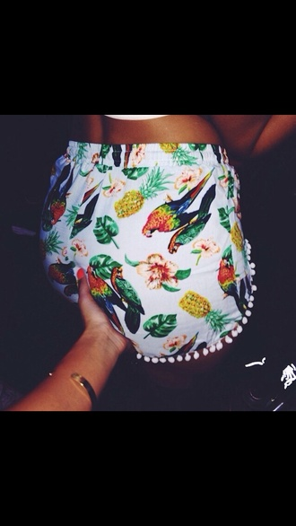 shorts multi colored leaves