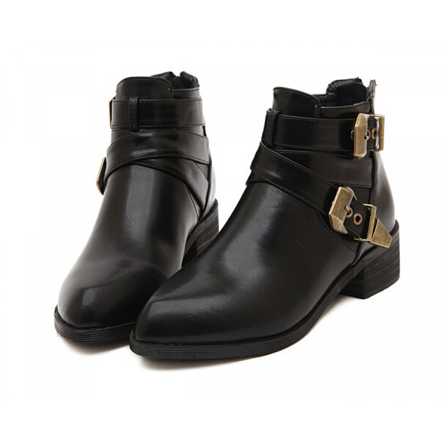 Brass Buckle Ankle Boots