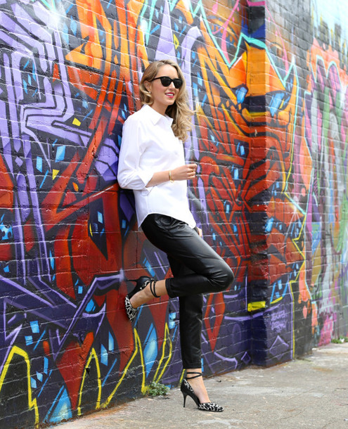the classy cubicle blogger leather pants white shirt warby parker