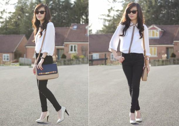 temporary secretary shirt bag jeans jewels shoes sunglasses