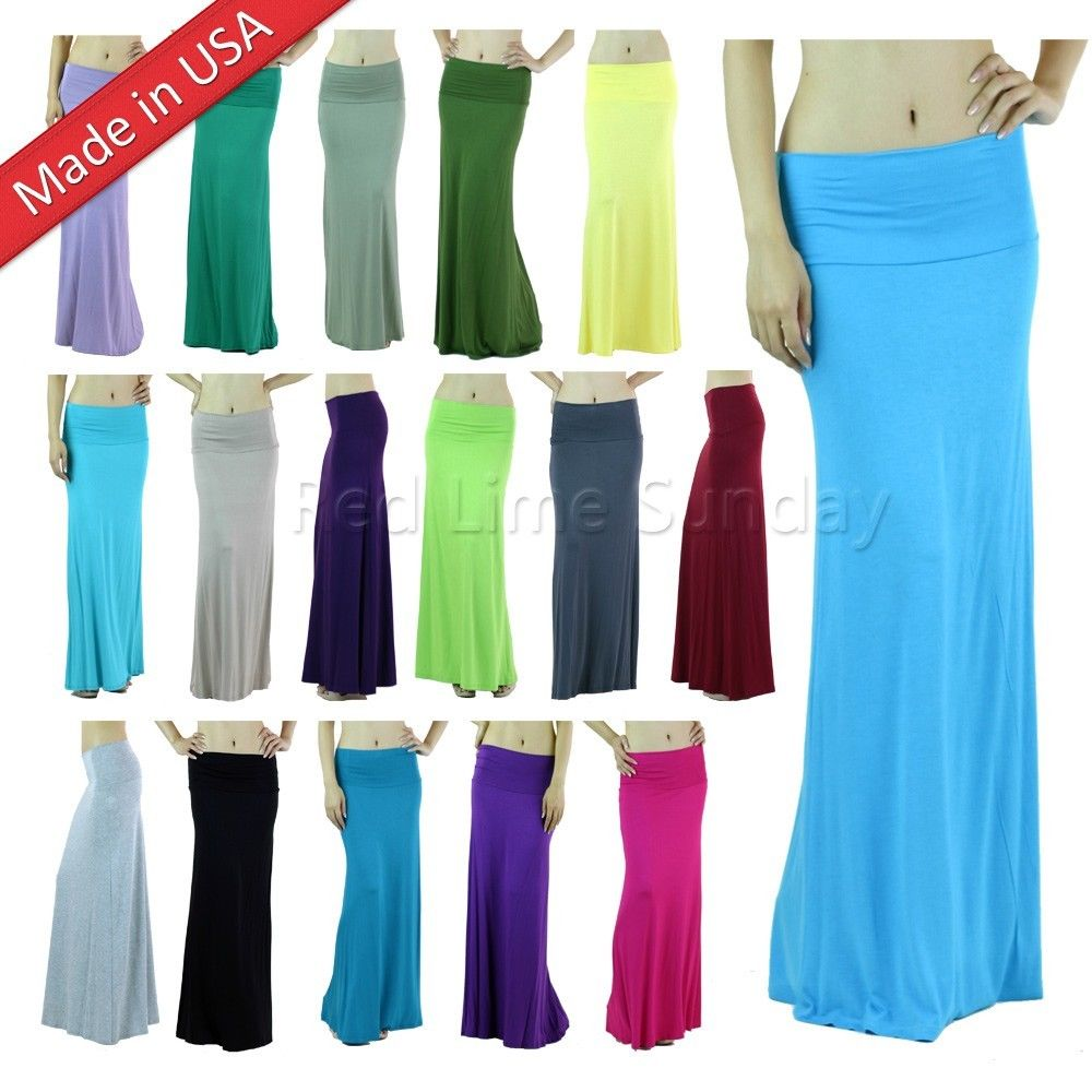 Fold Over Color Rayon Soft Jersey Wide Waist Band Solid Color Long Maxi Skirt US
