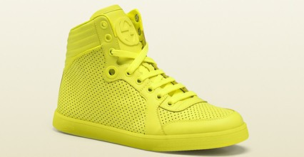 Gucci Neon Yellow Leather High Top Sneakers NIB - Athletic