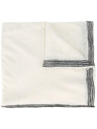 women scarf white silk wool