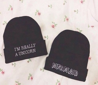 hat black beanie cardigan black beanie unicorn mermaid