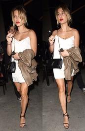 dress,sandals,jacket,hailey baldwin