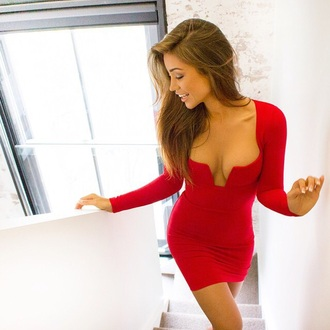 dress red dress deep v neck dress bodycon dress tight