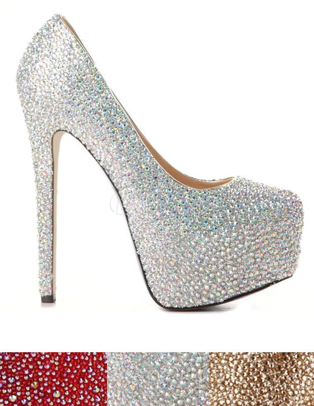 Chaussures à talons aigus moderne en peau de mouton avec rhinestones - Milanoo.com