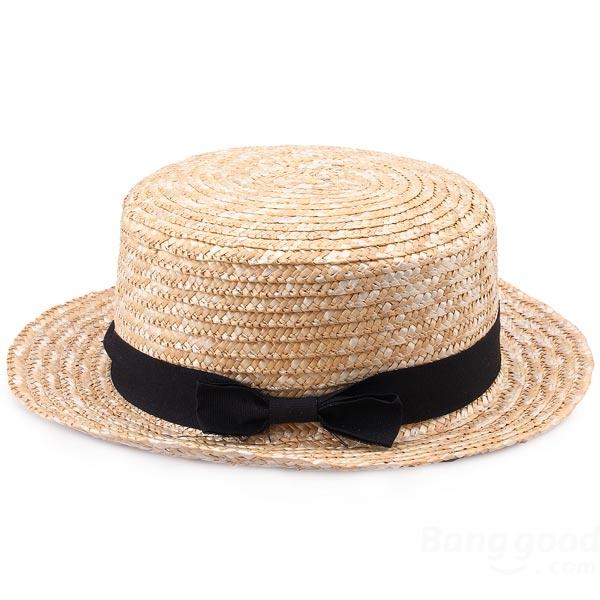 Woman Black Bowknot Ribbon Rattan Plaited Articles Straw Hat - CA$5.39