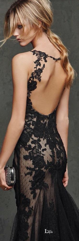 dress black dress lace flowers prom open back evening dress gown