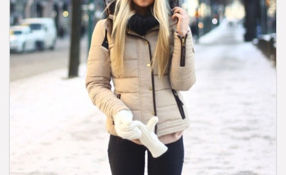 beige jacket fur winter jacket winter sweater furry coat snow blonde hair buttons zippers black gold gloves hoodie
