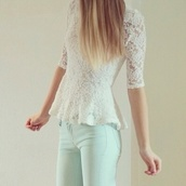 shirt,tumblr shirt,white,floral,long sleeves,jeans,jeggings,light blue,blouse,white top,lace top,lace dress,lace shirt,top,lace,peplum