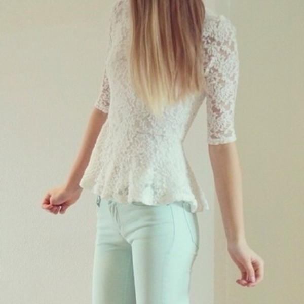 shirt tumblr shirt white floral long sleeves jeans jeggings light blue blouse white top lace top lace dress lace shirt top lace peplum long sleeves