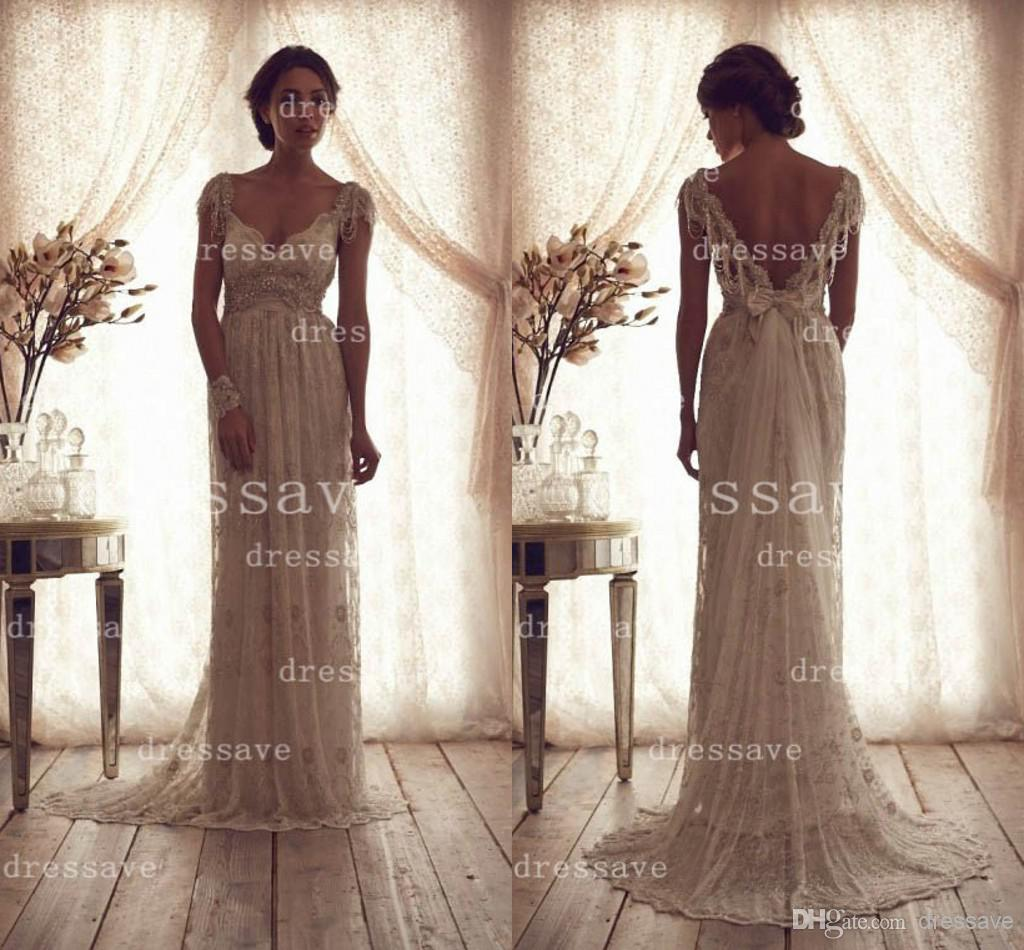 Cheap Crystal Evening - Discount 2014 Wedding Dresses V Neck Capped Sleeves Sash Online with $138.13/Piece | DHgate