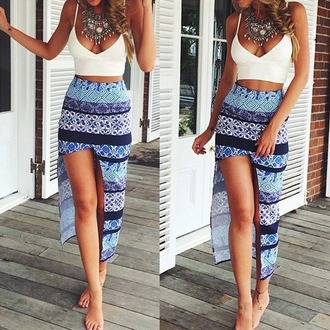 skirt bohemian cute girly blue
