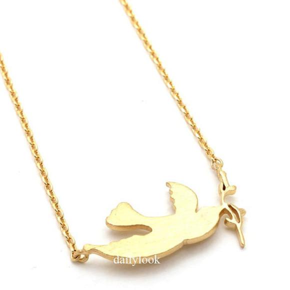 jewels necklace bird necklace bridesmaid necklace gold necklace branch necklace bird jewelry girls necklace