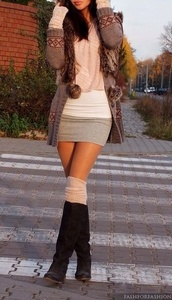 dress,jacket,blouse,shoes,skirt,knitwear,cotton,mini skirt,tight,cardigan,winter outfits,top,sweater dress. jacket. boots,clothes,black boots,pink scarf,girly,fluffy,fur cardigan,cute cardigan,brown,Trible,sweater