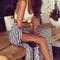 Striped split maxi skirt|disheefashion