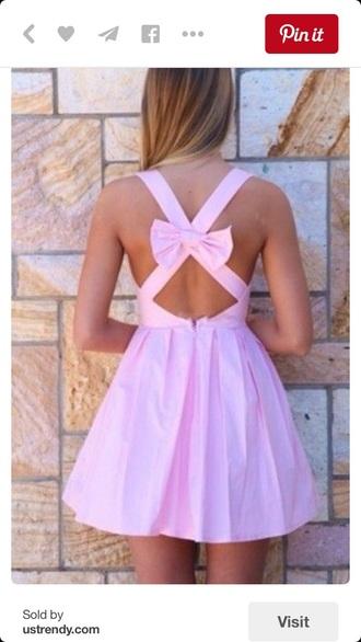 dress circle skirt dress bow dress bow back dress skater dress pink dress short dress