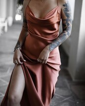 dress,tattoo,tumblr,dusty pink,pink dress,silk,silk dress,slip dress,slit dress,ring,silver ring,bracelets,silver bracelet,jewels,jewelry,silver jewelry,satan
