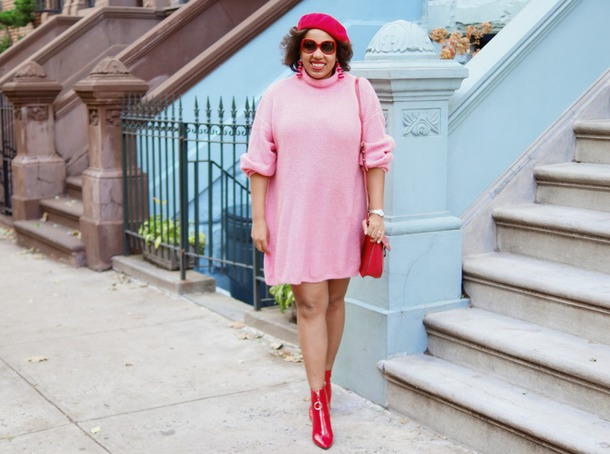 closetconfections blogger sweater dress bag jewels sunglasses shoes fall outfits ankle boots red boots sweater dress beret red bag pink dress