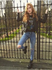 jacket,bella thorne,marvel,shirt,t-shirt,jeans,boots,shoes,blue jeans,ripped jeans,pants
