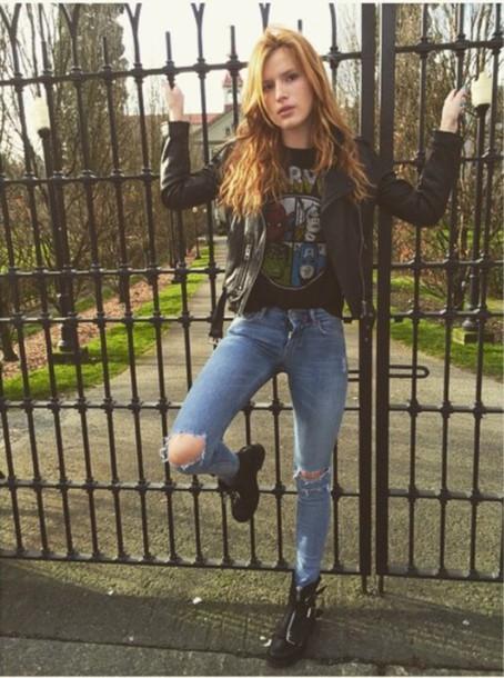 jacket, bella thorne, marvel, shirt, t-shirt, jeans, boots ...