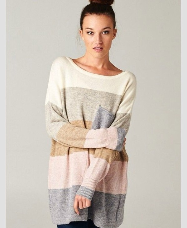 Spring New Boutique Colorblock Striped Pocket Angora Wool Sweater ...
